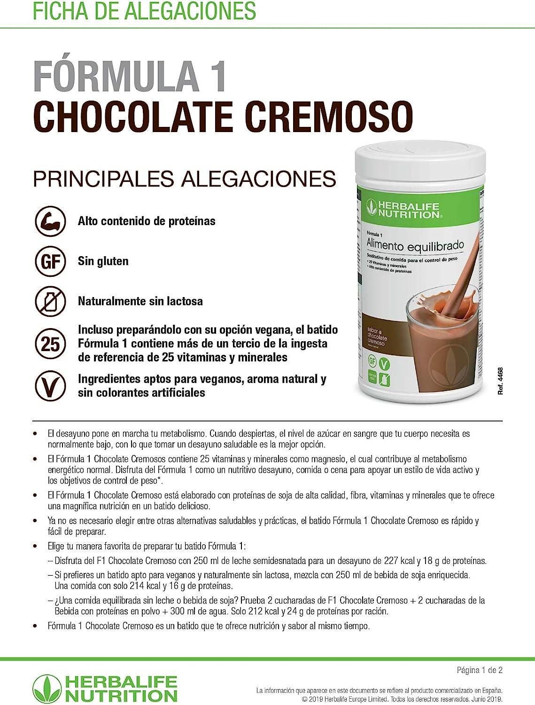 Batido Fórmula 1 Herbalife sustitutivo de comidas bajo en calorías. Rico en proteínas, vitaminas y minerales. Efecto saciante. Sabor chocolate cremoso ...