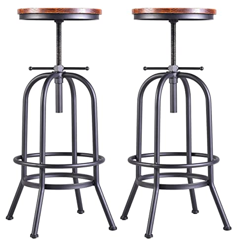 28-34 inch Vintage Industrial Bar Stool-Metal Wood Swivel Bar Stool-Retro Bar Height Stool-Counter Height Adjustable Kitchen Stools-Set of 2-Extra Tall Pub Height 28-34 Inch,Fully Welded Black 2pcs