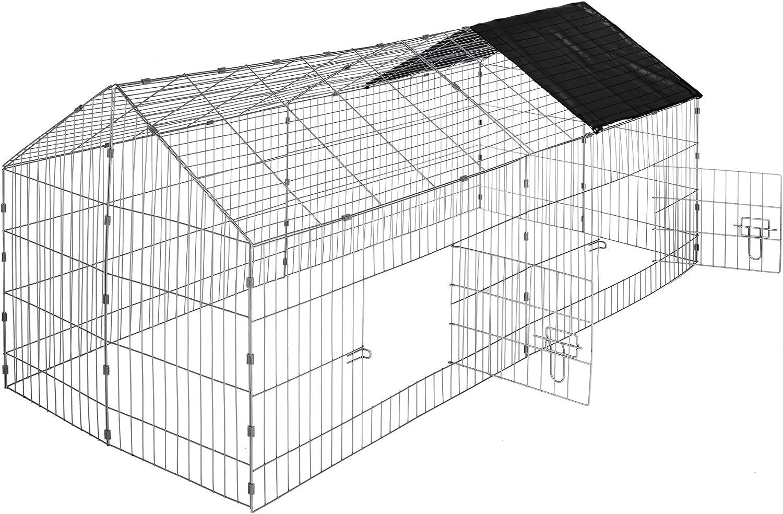 TecTake TecTake Cage enclos à lapin extérieur avec protection pare-soleil toit | LxlxH: 180 x 75 x 75 cm - diverses couleurs au choix- (Toit noir | no. 402421)