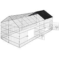 TecTake Kaninchen Freigehege mit Sonnenschutz Kaninchenstall | LxBxH 180 x 75 x 75 cm - diverse Farben -