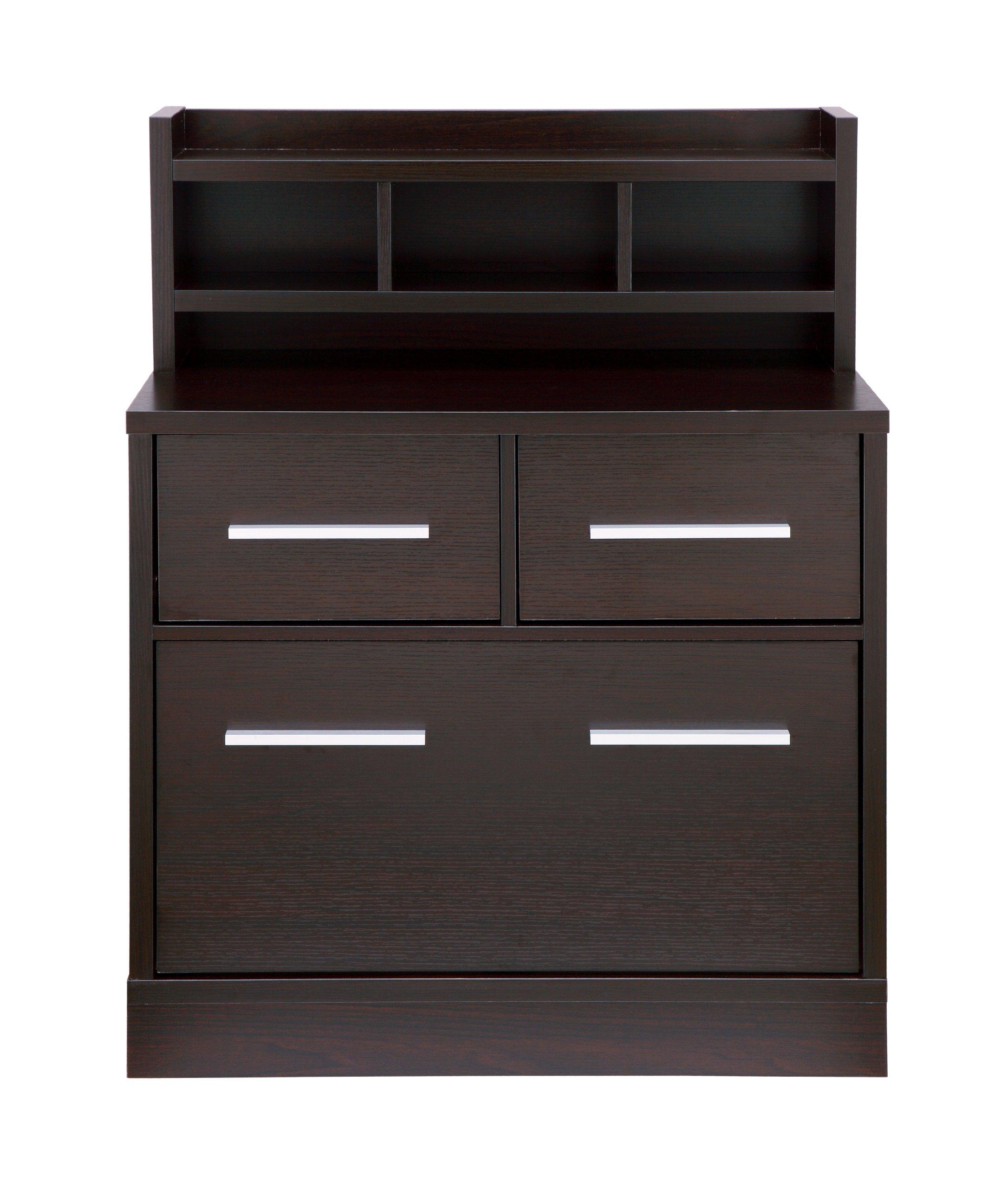 ioHOMES Lofgren Multi-Storage File Cabinet Work Station, Cappuccino Finish