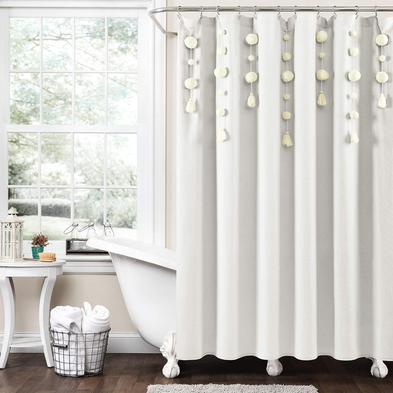 Lush Decor Boho Pom Tassel Linen Shower Curtain, 72