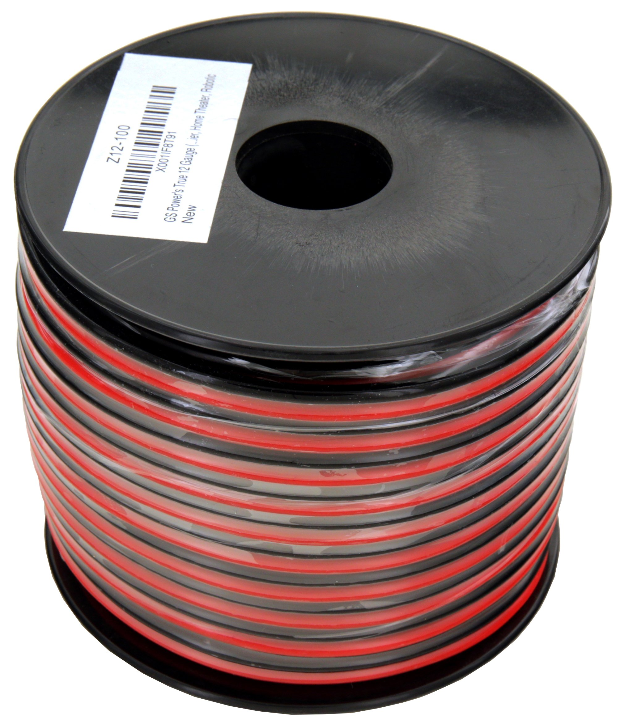 GS Power's True 12 Gauge (American Wire Ga) 100 feet 99.9% OFC stranded oxygen free copper, Red/Black 2 Conductor Bonded Zip Cord Power/Speaker Cable for Car Audio Amplifier, Home Theater, Robotic by GS Power