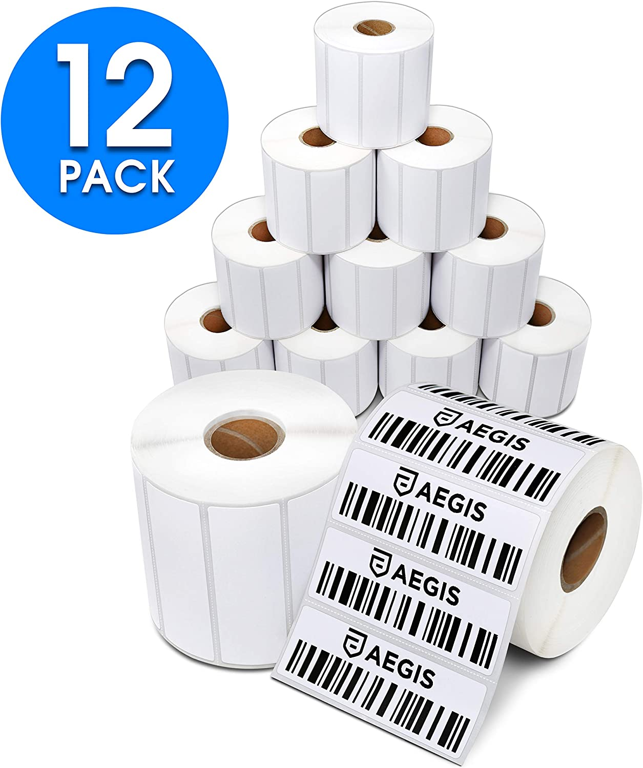 "Aegis Adhesives - 3"" X 1"" Direct Thermal Labels for FBA Barcodes, Address, Perforated & Compatible with Rollo Label Printer & Zebra Desktop Printers (12 Rolls, 1300/Roll)"