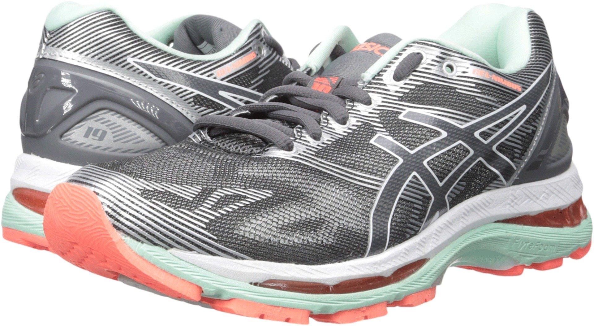ASICS Women's Gel-Nimbus 19 Running Shoe, Carbon/White/Flash Coral, 8.5 M US