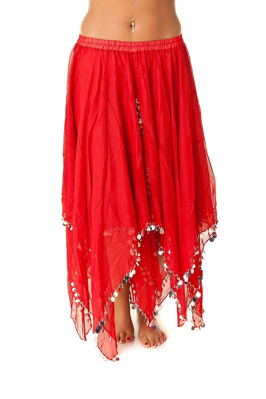 Turkish Emporium falda danza oriental (rojo plateado): Amazon.es ...