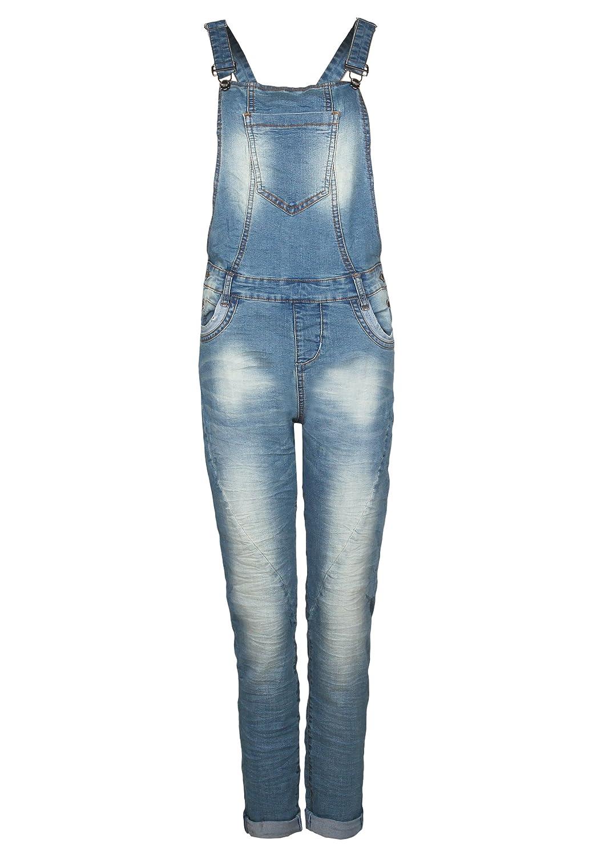 Fresh Made Damen Jeans-Latzhose | Denim Boyfriend-Cut im Stone Washed Look und Used-Look | Top Qualität Dank Hohem Baumwollanteil
