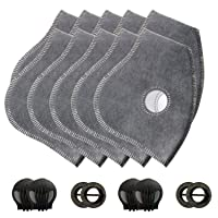 AIRNEX Set of 10 Activated Carbon PM2.5 Filters and 4 Exhaust Valves Replacement fit most Dust and Pollution Masks in the market