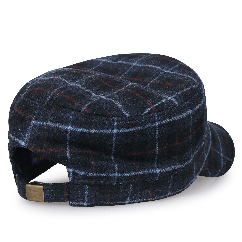 c3486500204 ililily Large Size Tartan Check Military Army Hat Wool-Blend Vintage Cadet  Cap