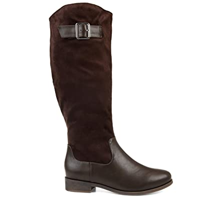 82b300ca0fc3 Image Unavailable. Image not available for. Color  Brinley Co Comfort  Womens Two-Tone Riding Boot Brown