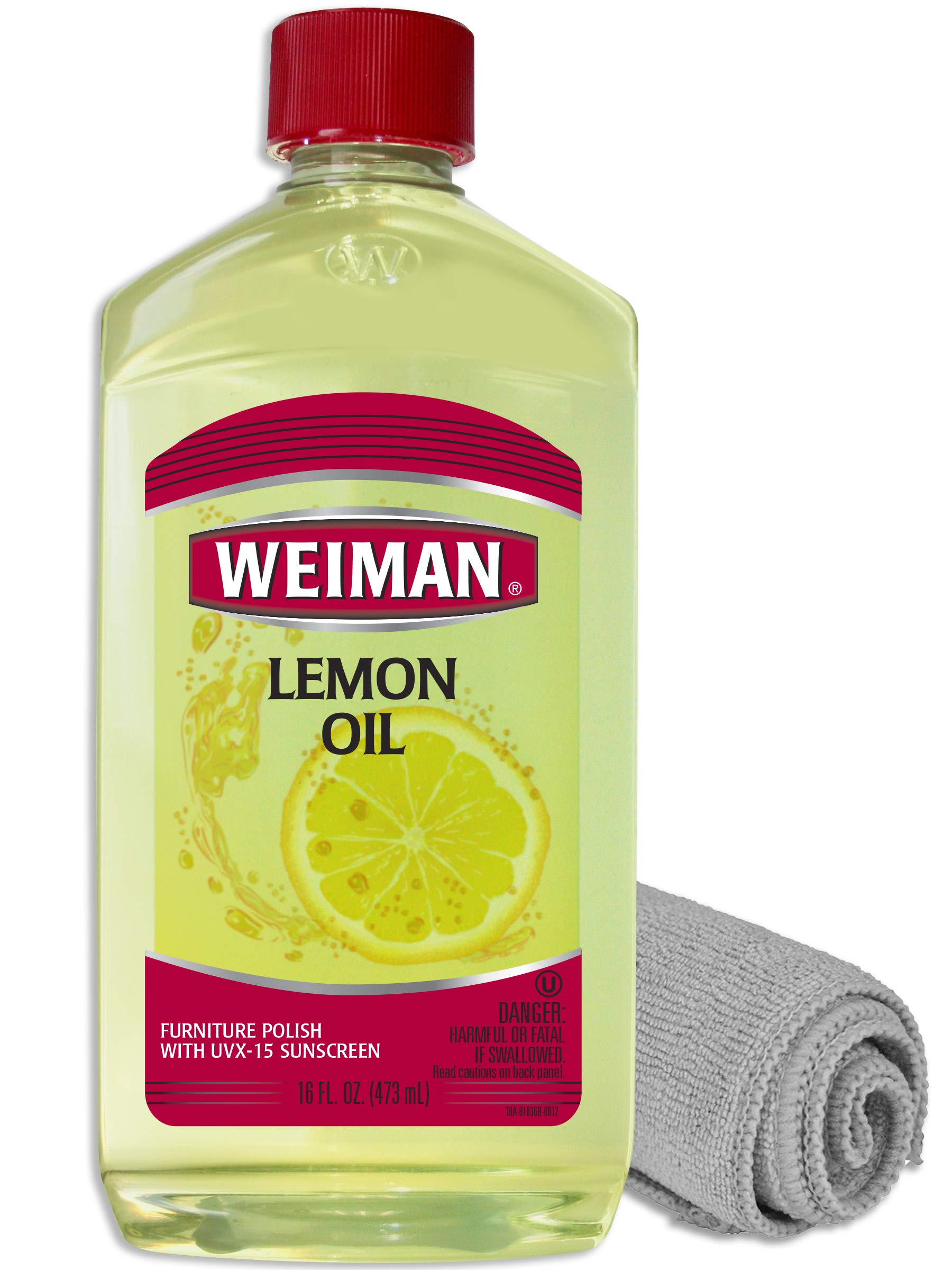 Weiman Lemon Oil for Wood and Microfiber Cloth - Ultra Violet Protection, Gently Cleans, Protects, Moisturizes, Restores and Conditions Wood by Weiman