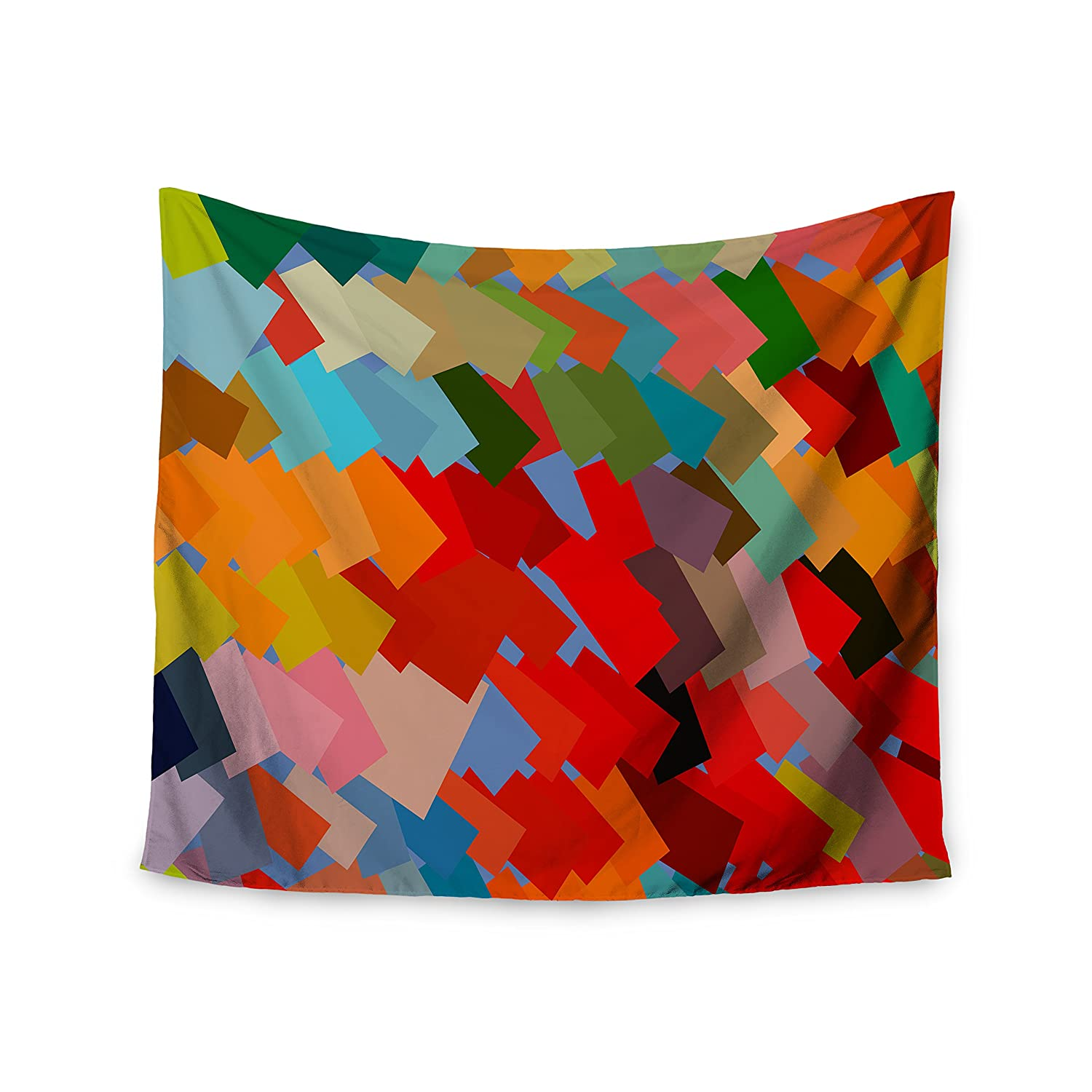 Kess InHouse Matthias Hennig Playful Rectangles Red Orange Wall Tapestry, 51' x 60'