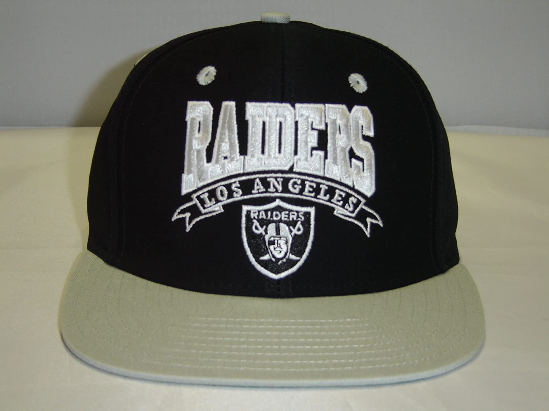 NFL RAIDERS Waveブラックグレーロゴ2トーンレトロスナップバックキャップOakland   B009MRY6AC