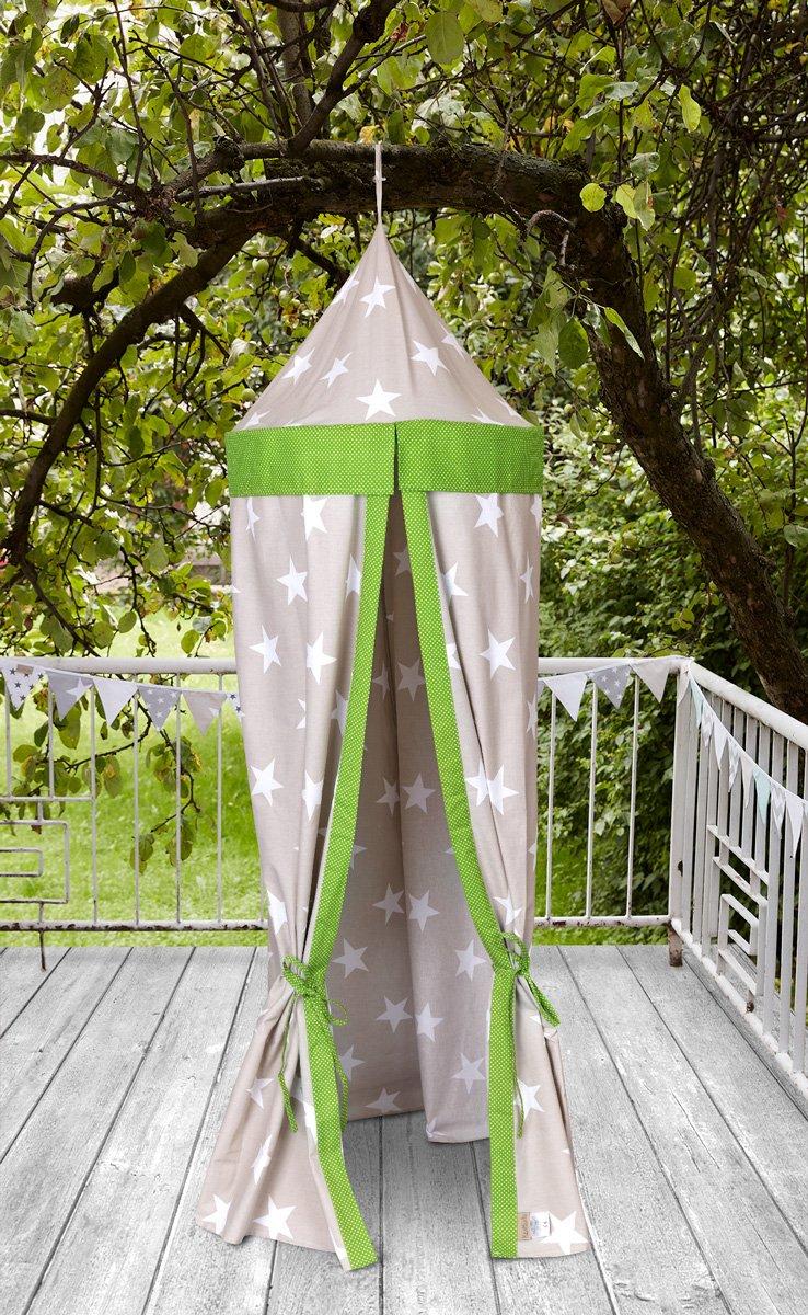 KraftKids Hängezelt große weiße Sterne auf Beige und weiße Punkte auf Grün