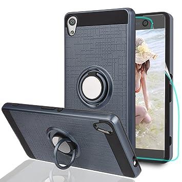 Funda Sony Xperia XA Ultra Carcasa , funda Sony Xperia C6 Carcasa con protector de pantalla HD, anillo giratorio Athchu 360 Degree y soporte Funda ...