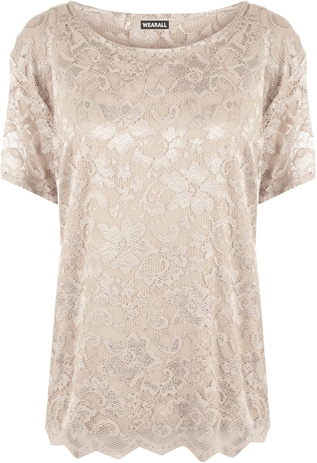 UK 22-24 US 18-20 WearAll Plus Size Womens Lace Short Sleeve Top White