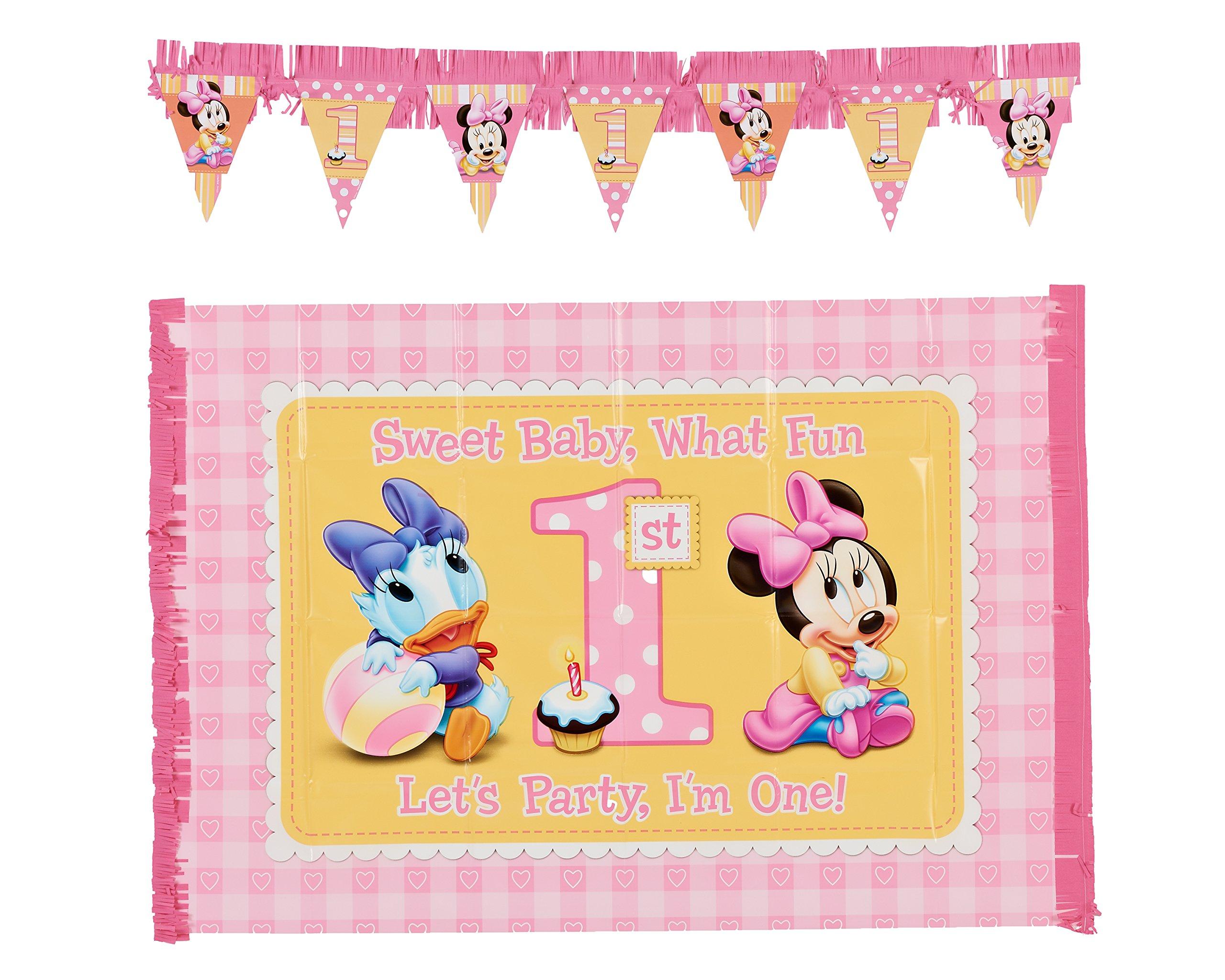 Amazon.com : 2-Piece Minnie\'s 1st Birthday High Chair Decoration Kit ...