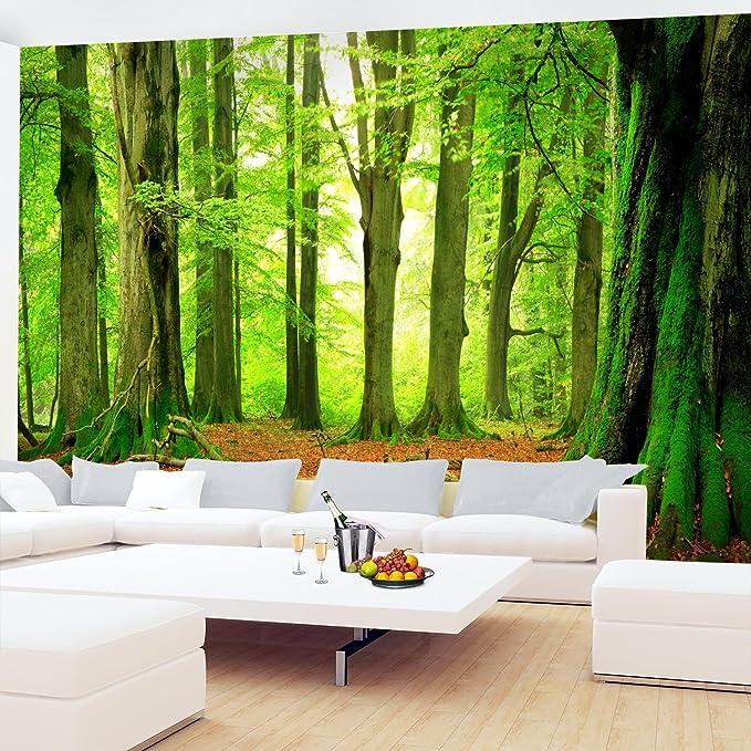 Papel Pintado Fotográfico Bosque 352 x 250 cm Tipo Fleece no-trenzado Salón Dormitorio Despacho Pasillo Decoración murales decoración de paredes moderna ...