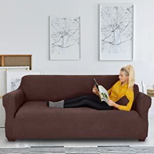 JINAMART Stretch Sofa Slipcover 1 Piece Couch Sofa Cover and 2 Throw Pillow Covers Soft Furniture Protector with Elastic Bottom & Non Skid Foam for Kids Dogs Cats Small Checks (XX-Large, Chocolate)