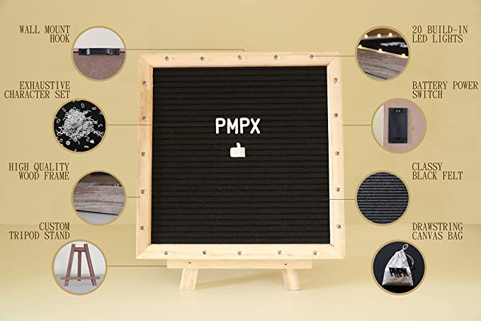 Premium Felt Letter Board with 20 Built-in LED Lights, 10 x 10 Black, with Wood Frame, Stand, Hook Mount, Changeable Characters, Numbers, Symbols, ...