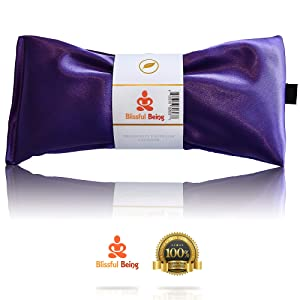 Blissful Being Lavender Eye Pillow - Hot or Cold Weighted Aromatherapy Eye Mask perfect for Sleeping, Yoga, Migraines - Gifts for Women, Birthday, Teachers - Natural Herbal Stress Relief (Amethyst)