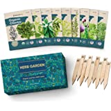 9 Herb Garden Seeds for Planting - USDA Certified Organic Herb Seed Packets - Non GMO Heirloom Seeds - Plant Markers & Gift B