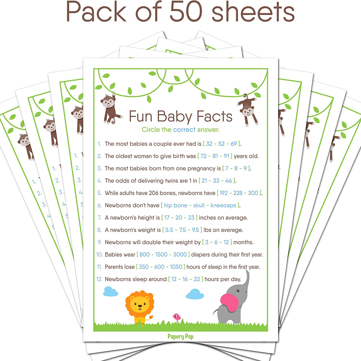 Amazon.com: Fun Baby Facts Game Cards (Pack of 50) - Baby Shower Games Ideas  For Boy or Girl - Party Activities Supplies - Safari Jungle Zoo Animals:  Toys & ...