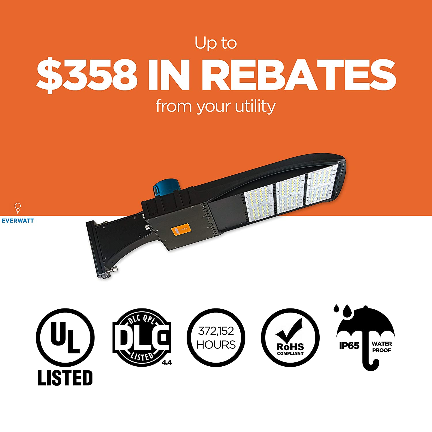 185W LED Outdoor Parking Lot Light with Photocell Sensor 5000K Slip Fit Mount Waterproof 25000 Lm Surge Protector Shoe Box Pole Lights EverWatt 750W Metal-Halide Equivalent Replacement