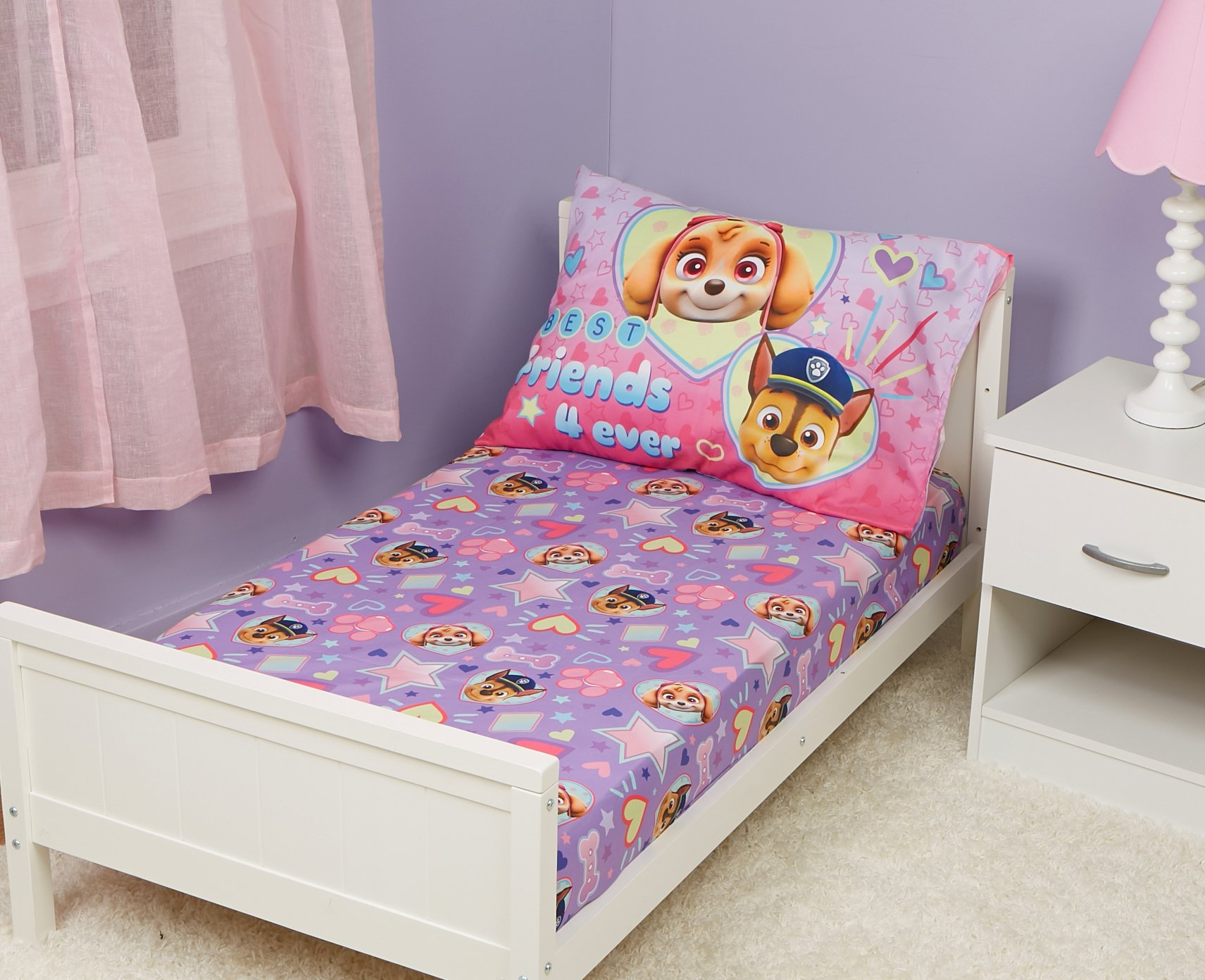Amazon.com : Paw Patrol Toddler Fitted Sheet and Pillow ...
