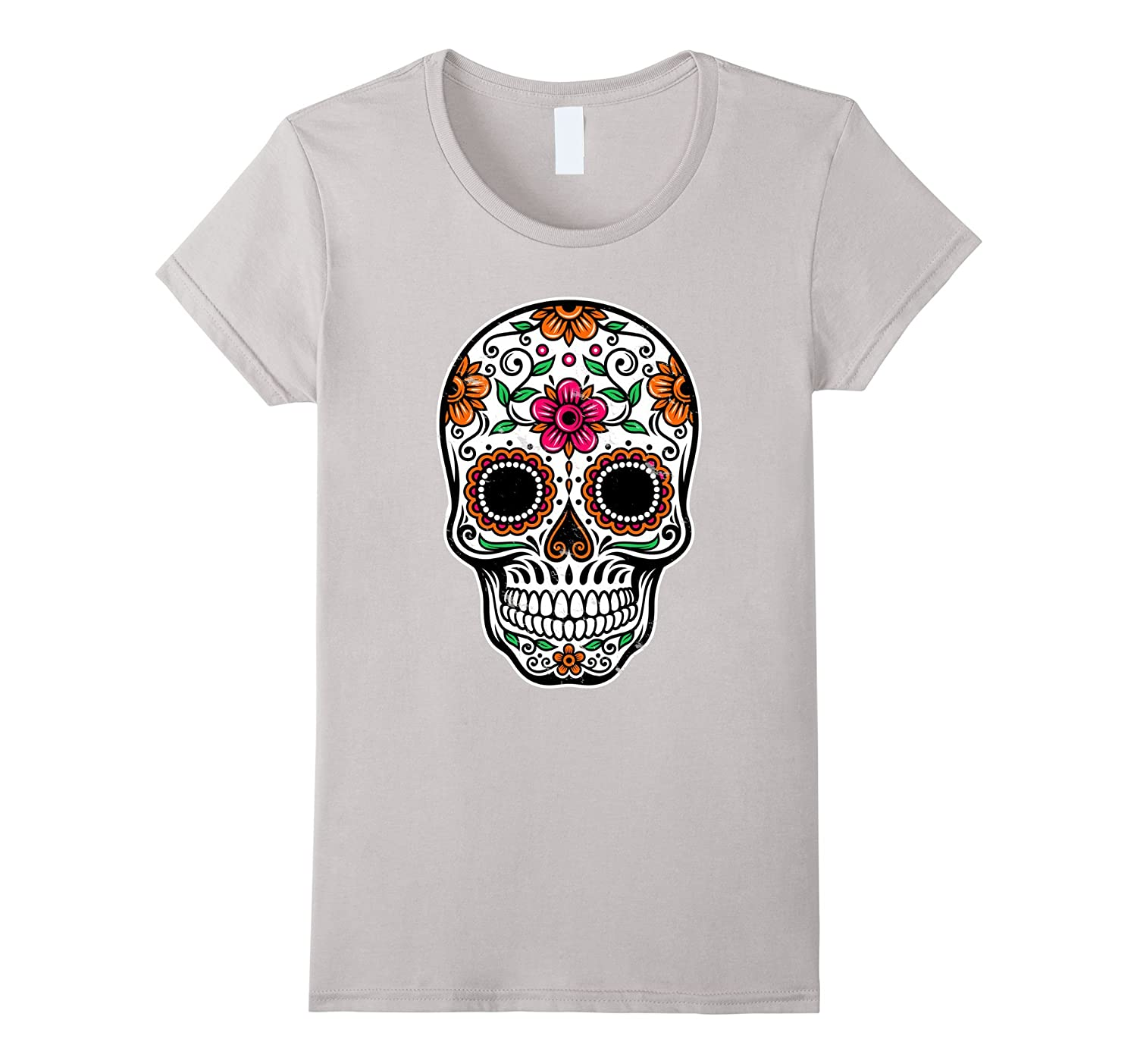 Sugar Skull Flower – Day of the Dead Shirts Distressed Print-Veotee