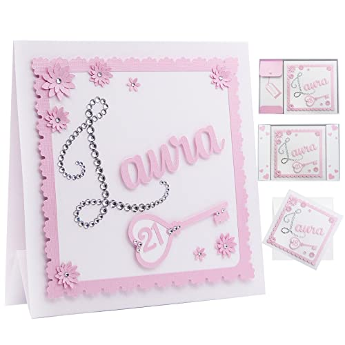 Personalised 21st Birthday Card ANY AGE The First Letter Of Any Name Is Made With Individual Diamond Crystals Choice Heart Or Key For Age 7 Colours