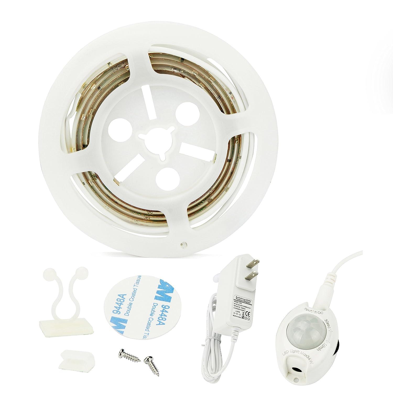 Aled Light PIRモーションセンサーLEDストリップライトキット、2835 SMDウォームホワイトナイトライトストリップ、キャビネット下、ベッド下、廊下、ダークコーナーアクセント照明 AL10GTDTCD B06Y2XJGL7 15502  1パック