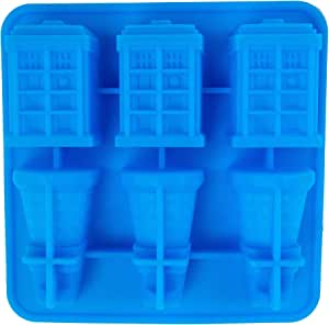 Doctor Who Tardis & Dalek Mould for Ice Cubes, Chocolates, Jelly, Soaps, Candles, Whiskey Drinks, Cocktails, Baking, Easy Release 100% BPA Free Food Grade Silicone, Oven, Freezer, Dishwasher Safe