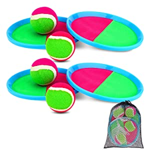 Ayeboovi Paddle Toss and Catch Ball Set - Self Stick Paddle Game with 4 Paddles, 4 Balls and 1 Storage Bag
