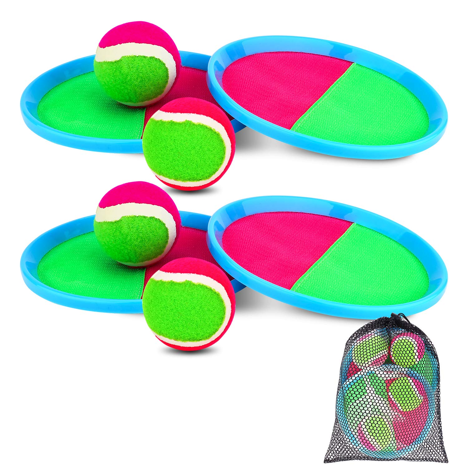 Ayeboovi Paddle Toss and Catch Ball Set for Kids- Self Stick Paddle Game with 4 Paddles, 4 Balls and 1 Storage Bag for Children