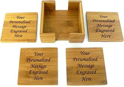 Personalised Set Of 4 Wooden Coasters With Holder Amazon Co Uk Kitchen Home