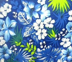 Hawaiian Royal Blue Poly Cotton 58 Inch Fabric by The Yard (F.E.