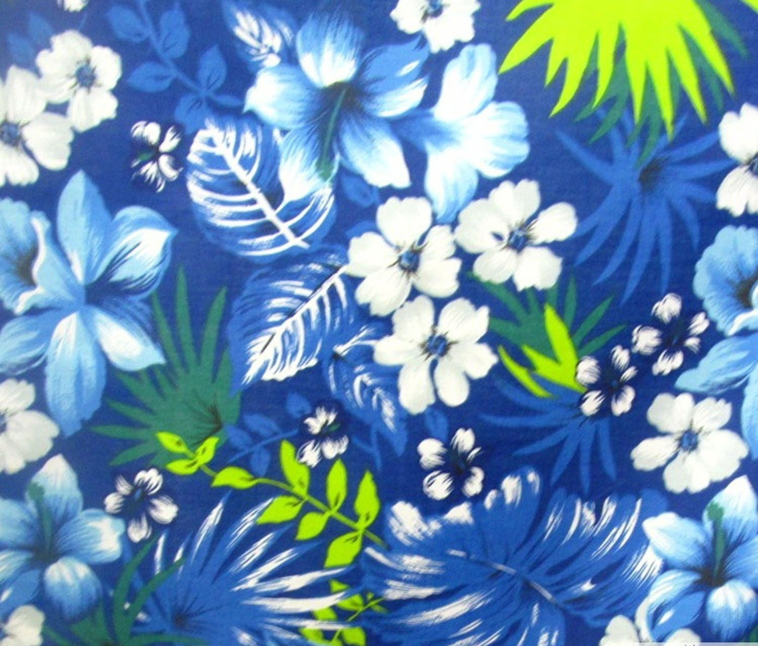 Hawaiian Royal Blue Poly Cotton 58 Inch Fabric By the Yard (F.E.つ) by The Fabric Exchange   B00J358MDK