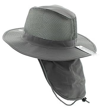 14bdd7359fe4b3 Wide Brim Unisex Safari/Outback Summer Hat w/Neck Flap (Extra Large, Grey):  Amazon.in: Clothing & Accessories