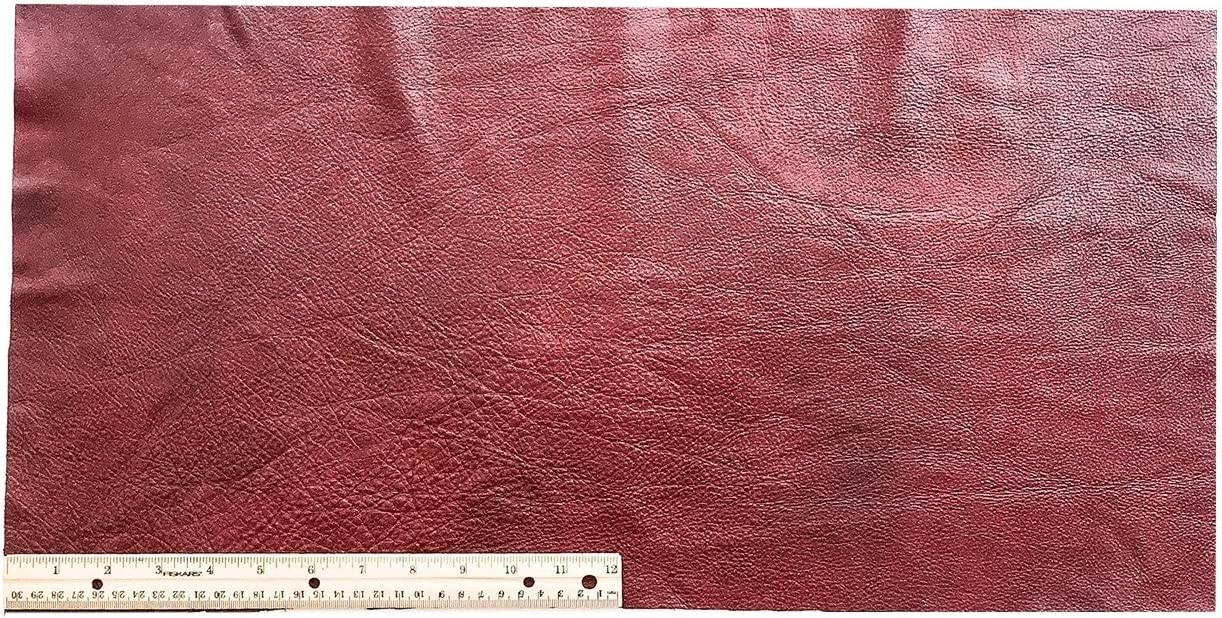 12 x 24 2 Square Feet Upholstery Leather Piece Cowhide Dark Red Light Weight