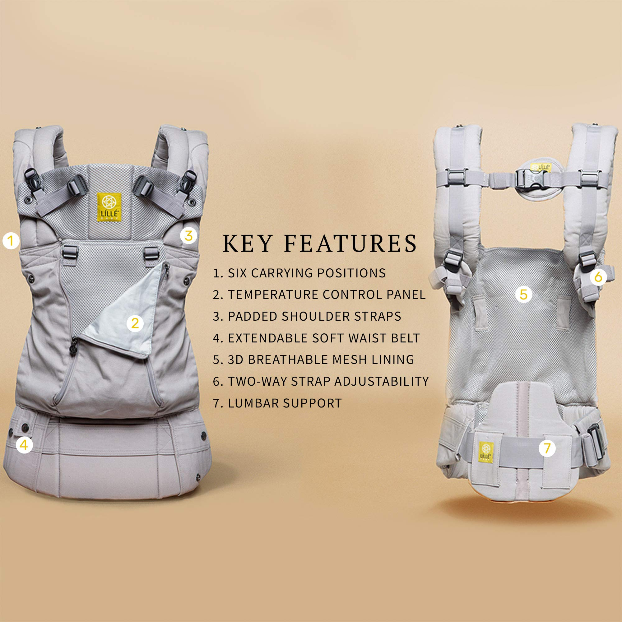 LILLEbaby SIX-Position, 360° Ergonomic Baby & Child Carrier by LILLEbaby – The COMPLETE All Seasons (Stone) by LILLEbaby (Image #3)