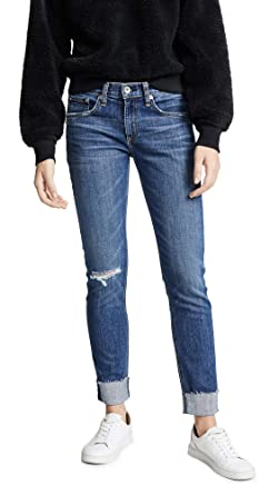 9d93fc1189b Rag & Bone/JEAN Women's The Cuffed Dre Slim Boyfriend Jeans, Jav Blue with