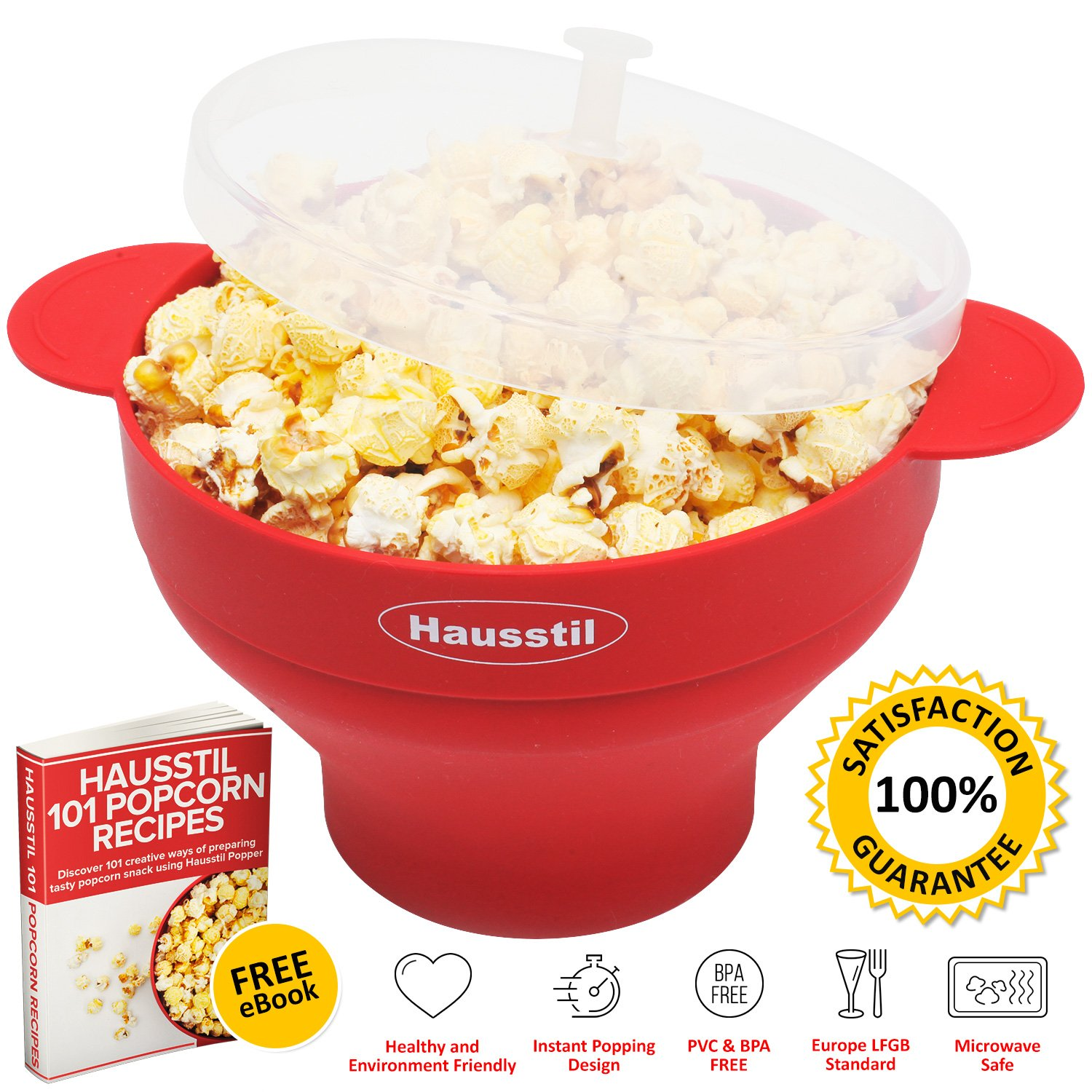 Microwave Air Popcorn Popper - Silicone Popcorn Maker Bowl for Home - Free of PVC & BPA - Healthy Instant Kernels Popping - Save on Popcorn Machine and Bags by Hausstil