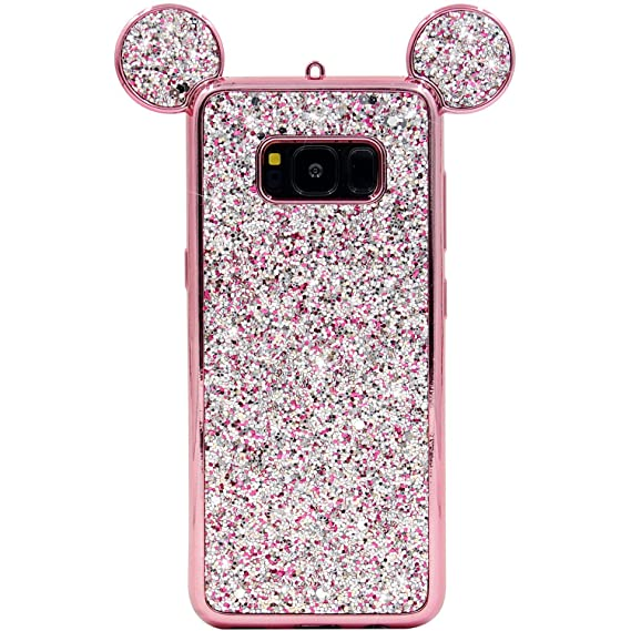 various colors 78d05 732e3 Galaxy S8 Case, MC Fashion Cute Sparkle Bling Glitter 3D Mickey Mouse Ears  Soft and Protective TPU Rubber Case for Samsung Galaxy S8 (2017 Release) ...