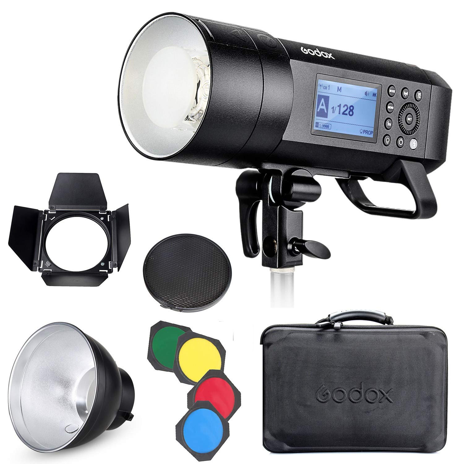 Godox AD400 Pro Kit, 400ws GN72 TTL Battery-Powered Monolight, 1/8000 HSS Outdoor Flash Strobe Light, Built-in 2.4G System, 390 Full Power Pops, 0.01-1s Recycle Time, 30w LED Modeling Lamp by Godox