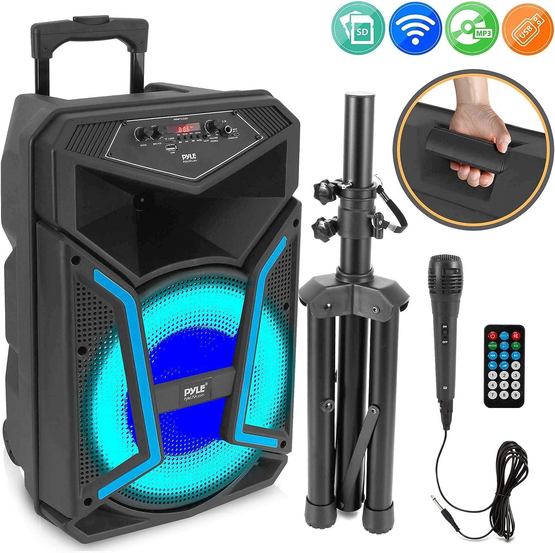 Pyle System-800W Altavoz Bluetooth portátil con sistema PA con micrófono, luces de fiesta, lector de tarjetas SD MP3/USB, radio FM, ruedas giratorias, mando a distancia (PPHP122SM): Amazon.es: Instrumentos musicales