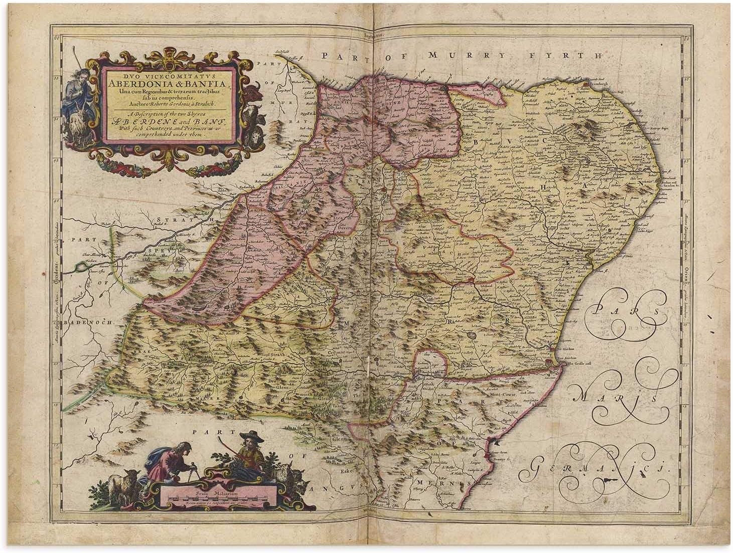 The Blaeu Prints   Aberdeenshire, Scotland - Historical Map Print from Antique Atlas by Joan Blaeu - Old Map Shows: Aberdeen, Elgin, Peterhead