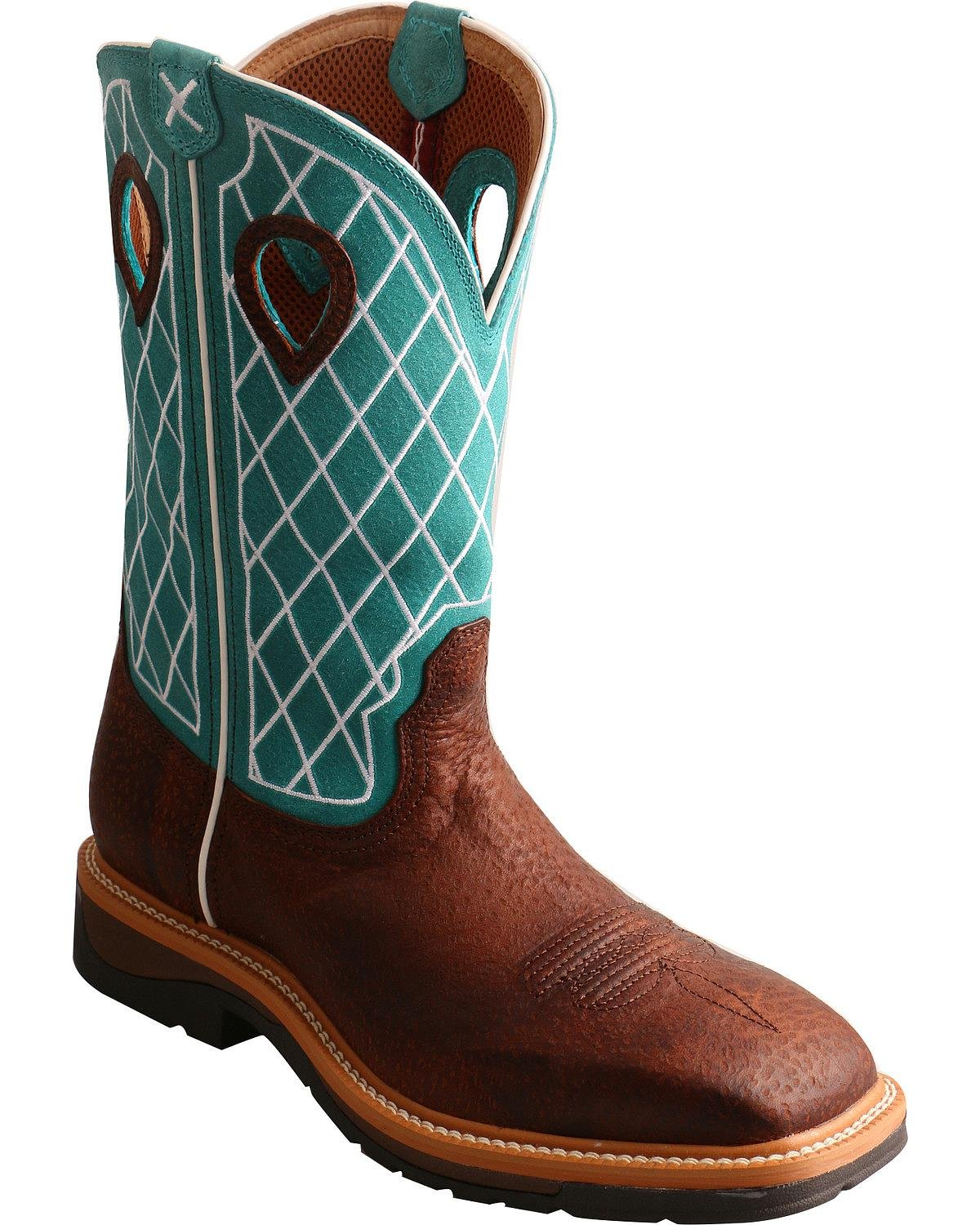 Twisted X メンズ B074BQFPBD 9.5 2E US|Brown Turquoise Brown Turquoise 9.5 2E US