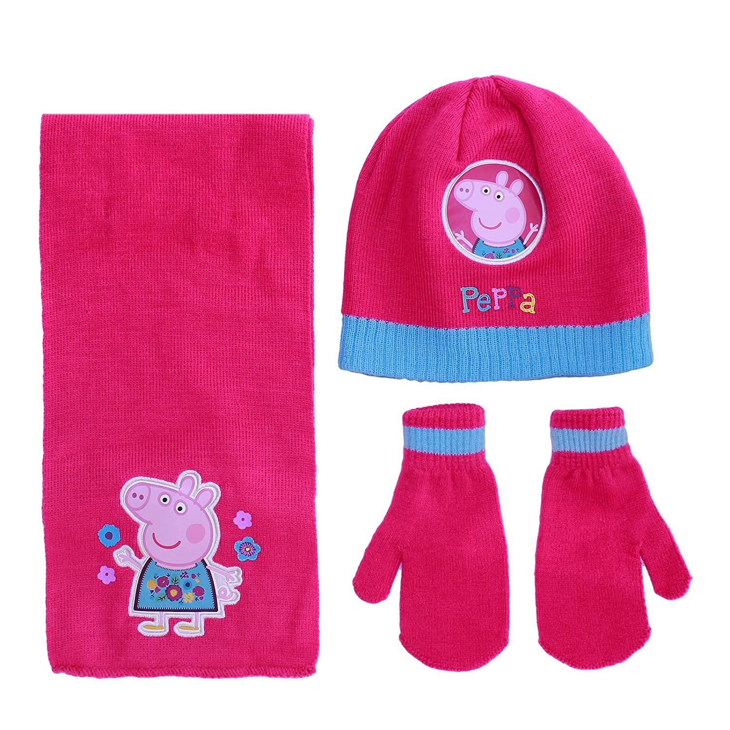 Official Licensed Girls Peppa Pig 3 Piece Set Hat Scarf Mittens Age 2-6 Years Pink Peppa