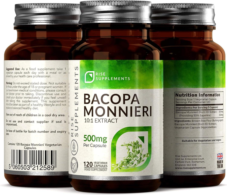 Bacopa Monnieri Cápsulas - 500 mg | Para Ayudar en el Aprendizaje y la Memoria | 120 Cápsulas Vegetarianas | SUMINISTRO DE HASTA 3 MESES: Amazon.es: Salud y cuidado personal